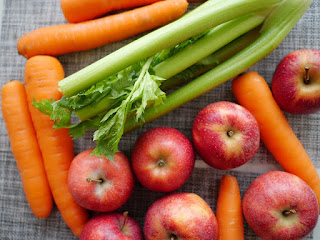 carrots, celery, apples