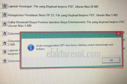 eForm error Anda Menggunakan SPT versi Lama, Silahkan Unduh Versi Terbaru