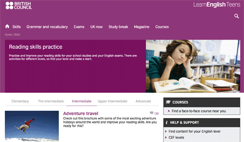 Reading skills practice with leveled exercises on the British Council website