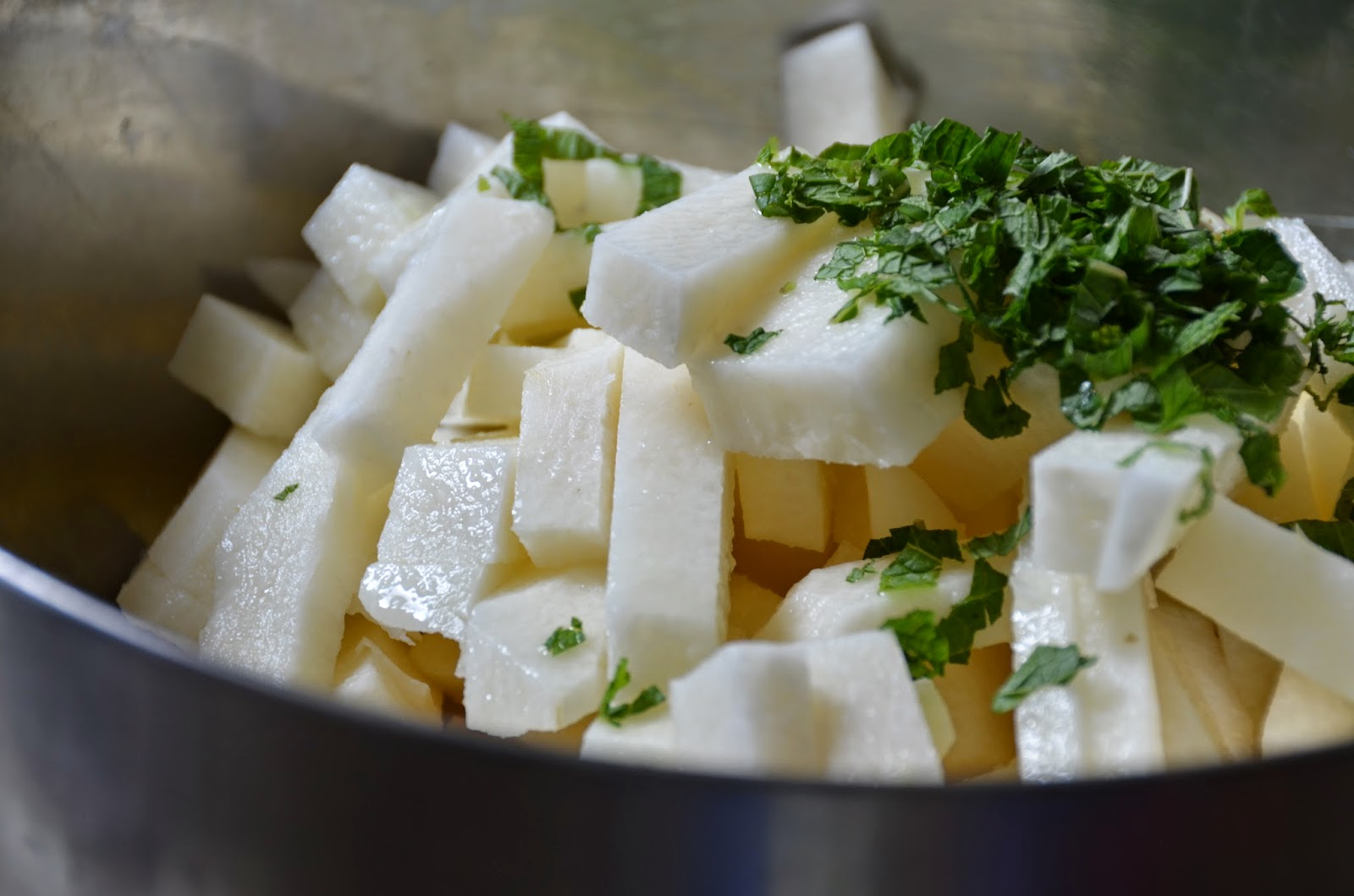 Minted Jicama Sticks