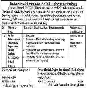 RNTCP Surendranagar Supervisor Recruitment 2016