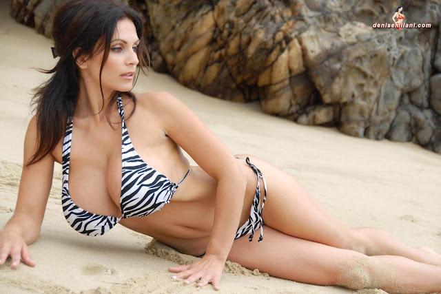 Denise Milani Beach Zebra HD Sexy Photoshoot Hot Photo 8