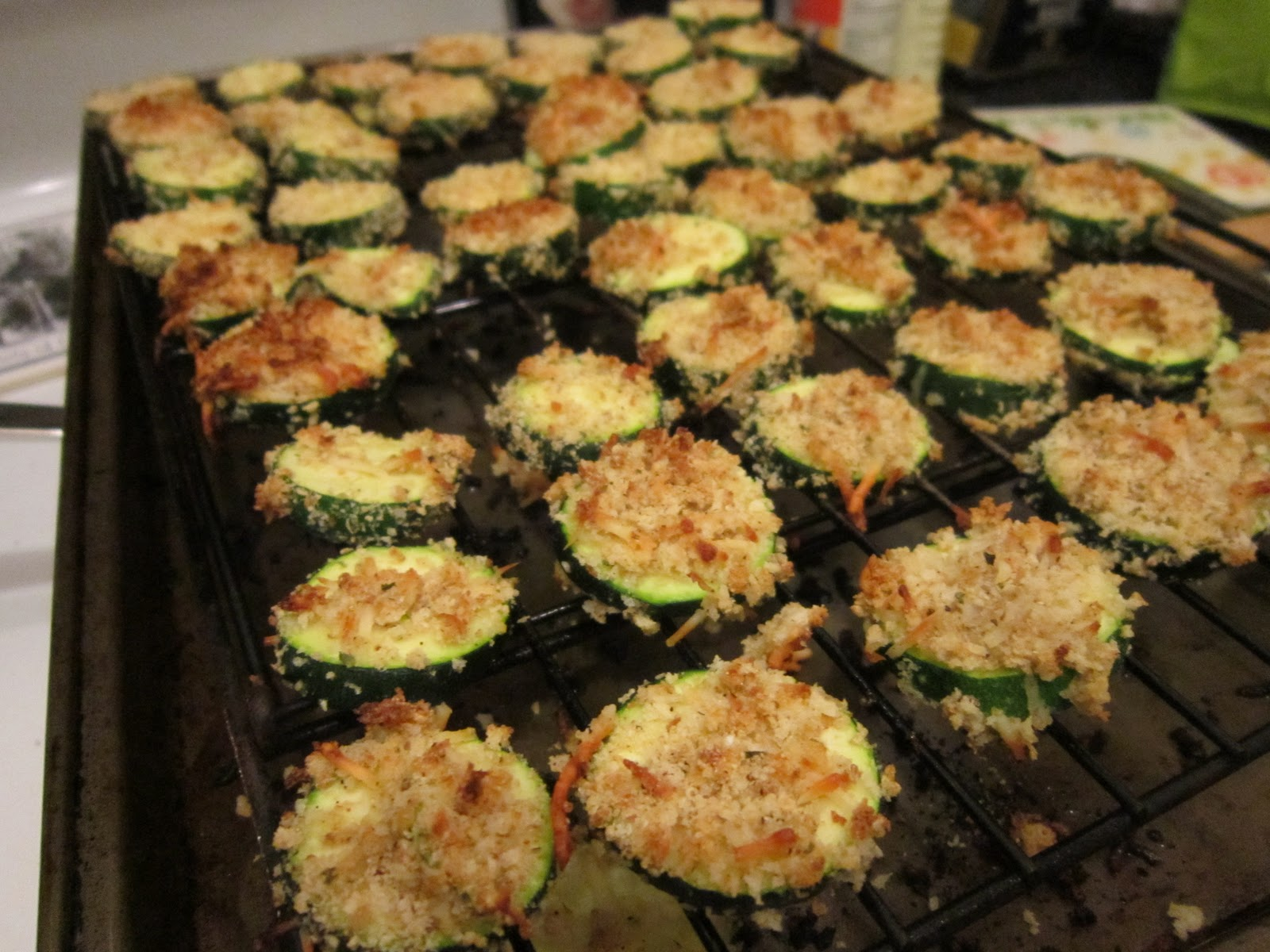 Place Milk In A Shallow Bowl Dip Zucchini Slices And Dredge Breadcrumb Mixture Coated On An Ovenproof Wire Rack With
