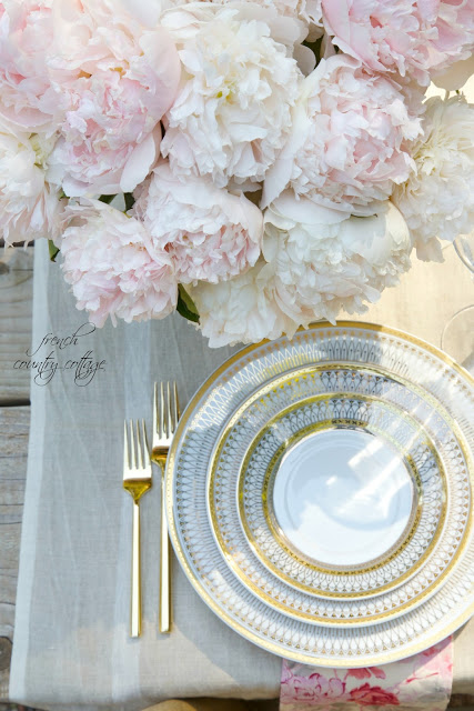 French Linen with gold dishes and peonies