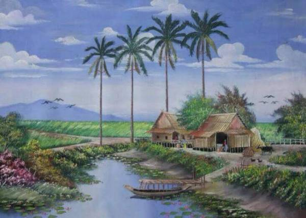 Nostalgia Lukisan Pemandangan Sawah Era Masa kecil Dulu