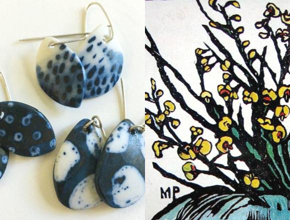 katiecrackernuts.blogspot.com || aleida pullar earrings and a margaret preston wildflower print