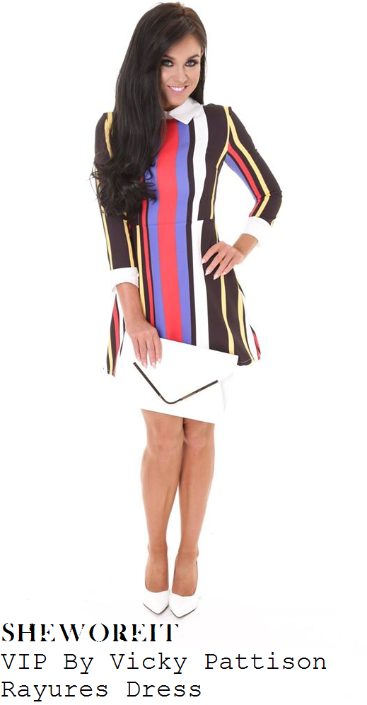 vicky-pattison-multicoloured-stripe-collared-skater-mini-dress