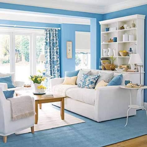 Warna Hiasan Ruang Tamu Biru