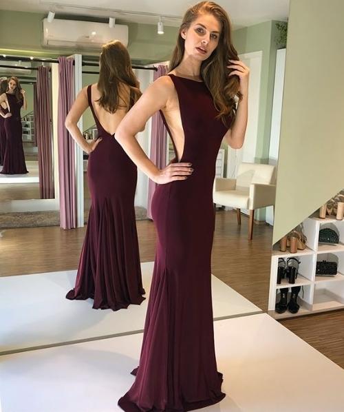 vestido de festa longo vinho
