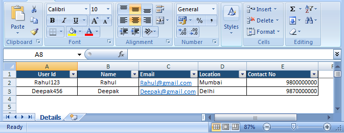 Read excel file in C#