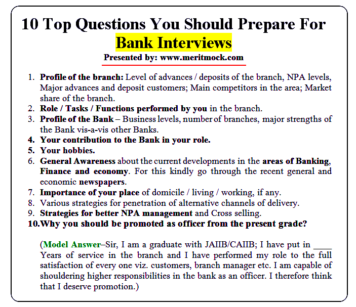 10 Top Questions You Should Prepare For Bank Interviews ~ Current ...