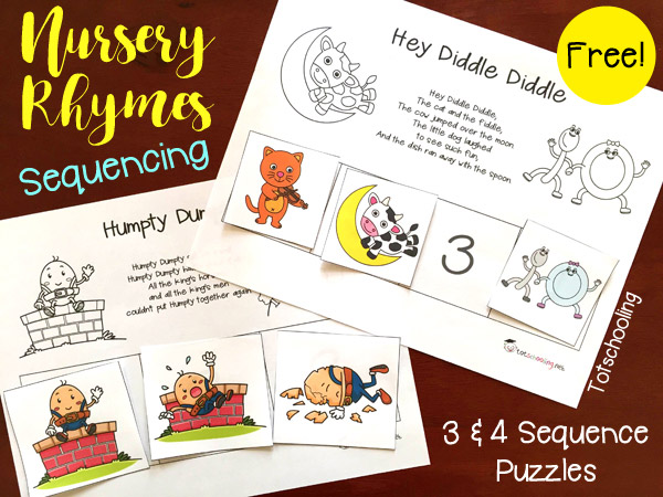 photograph regarding Free Printable Nursery Rhymes named No cost Nursery Rhymes Sequencing Printables Totschooling