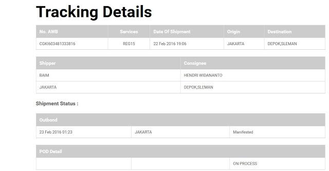 Cara cek Kiriman JNE - Tracking Detail