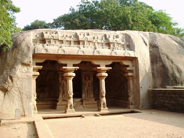 Varaha cave temple entrance - Pallava architecture Mahabalipuram