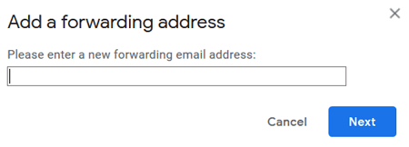 Gmail add a forwarding email address