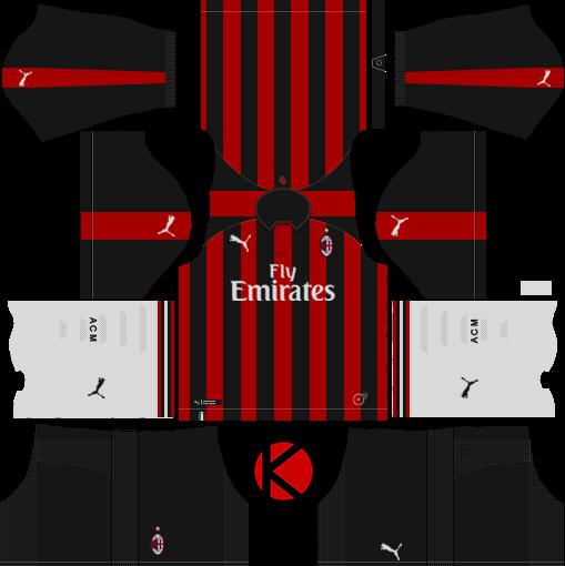 e31718e1278 AC Milan 2018 19 Kit - Dream League Soccer Kits - Kuchalana