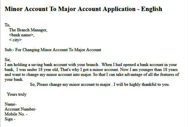 minor account to major bank account application