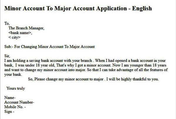minor account to major bank account application