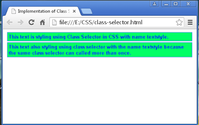 The appearance on web browser of class selector example