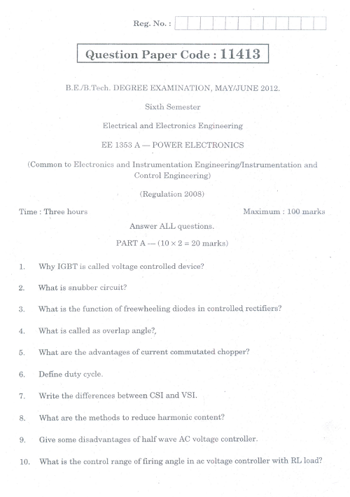 EE1353A Power Electronics May June 2012 Question Paper
