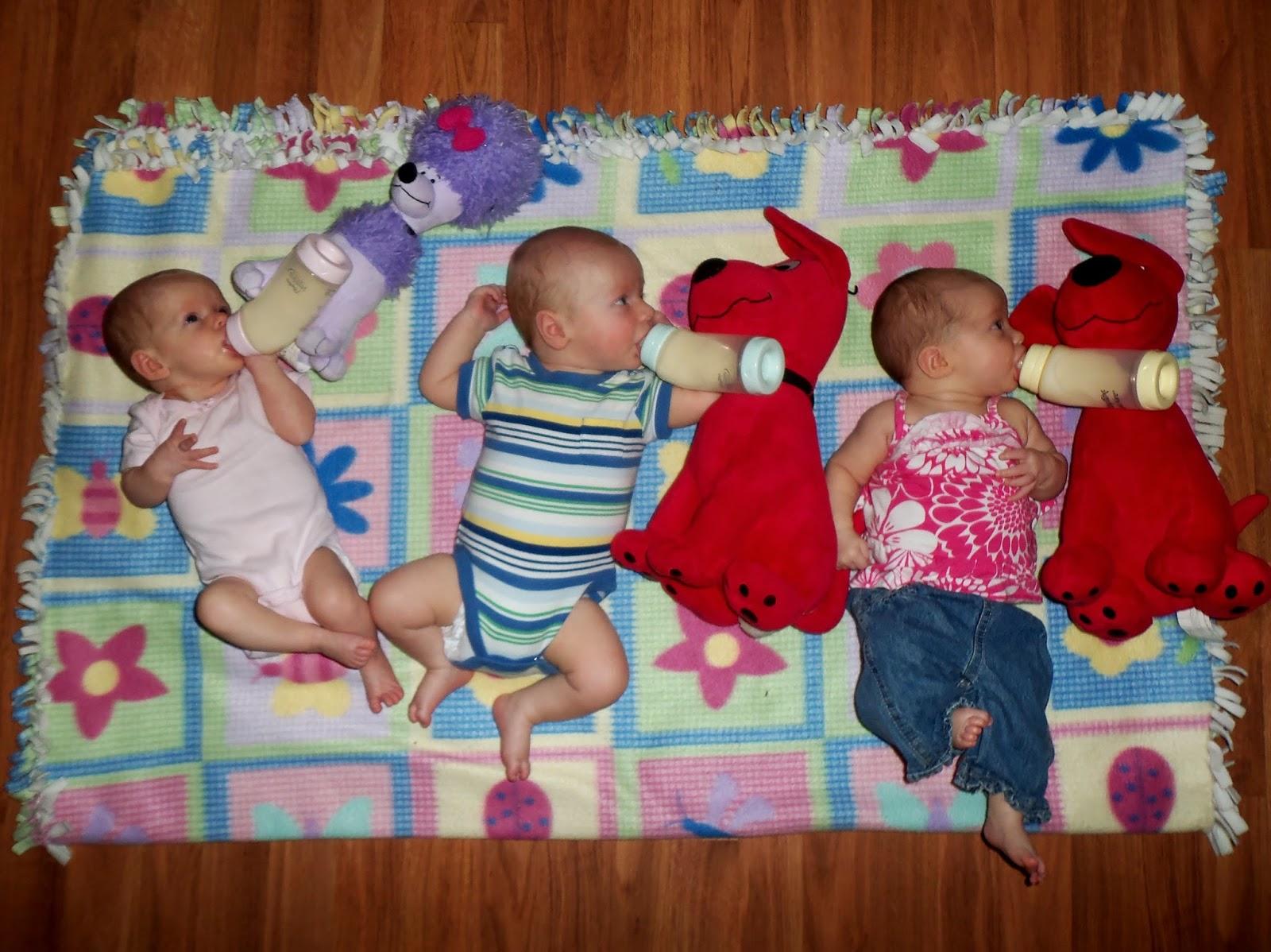 triplets toddler bottle propping. Black Bedroom Furniture Sets. Home Design Ideas