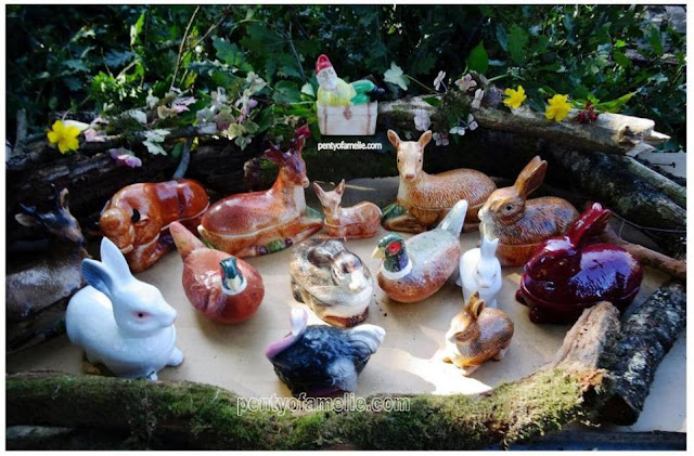 Vintage Majolica Tureens, as White Rabbits family, Brown Bunnies, Brown Hare, Pheasants, wild wood Bison, Deer, Doe and Bambi Fawn, Brownie Fallow Deer Buck, Red Rabbit.
