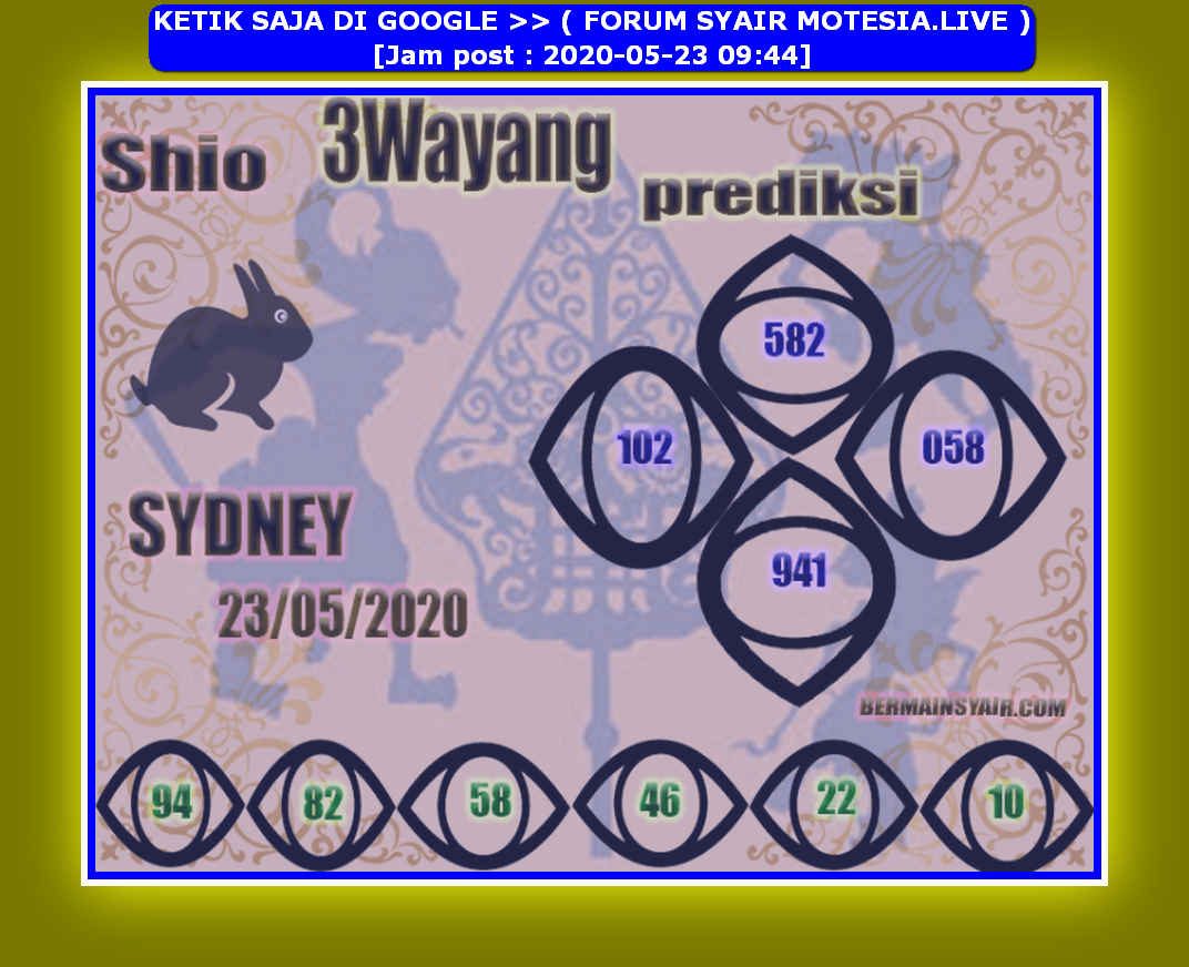 Kode syair Sydney Sabtu 23 Mei 2020 80