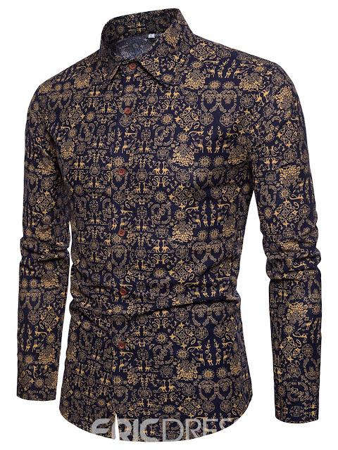 Print Long Sleeve Slim Fit Men's Paisley Shirt