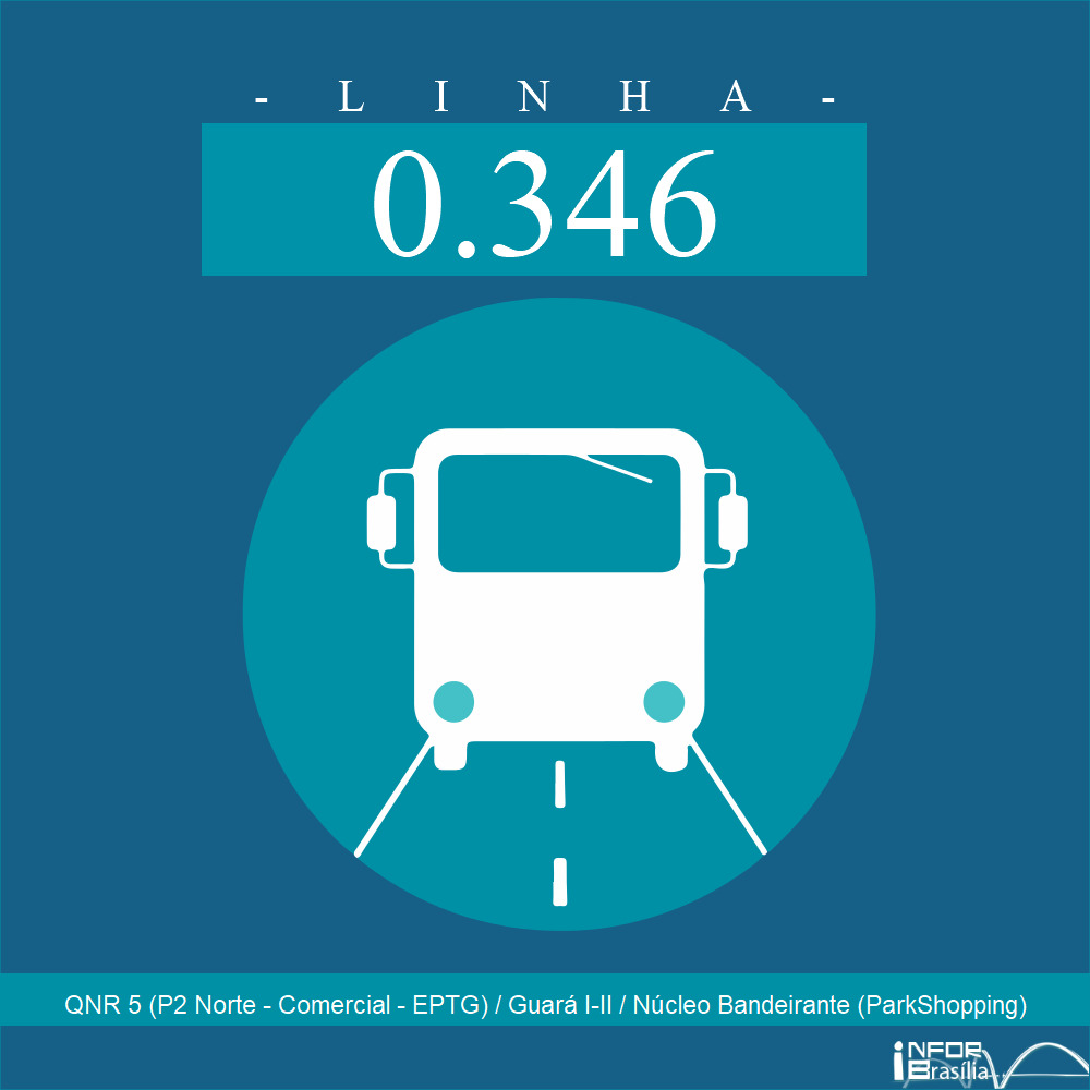 Horário de ônibus e itinerário 0.346 - QNR 5 (P2 Norte - Comercial - EPTG) / Guará I-II / Núcleo Bandeirante (ParkShopping)