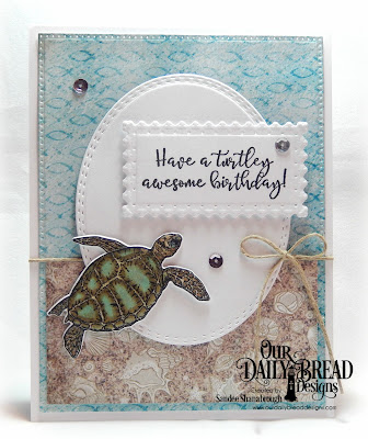 Our Daily Bread Designs Stamp/Die Duos: Turtle Love, Paper Collection: By the Shore,  Custom Dies: Pierced Rectangles, Double Stitched Ovals, Filigree Frames