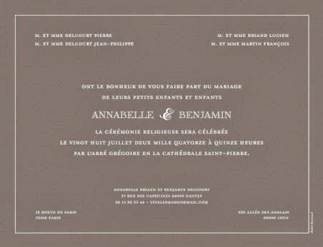 faire part classique mariage invitation mariage carte mariage texte mariage cadeau mariage. Black Bedroom Furniture Sets. Home Design Ideas