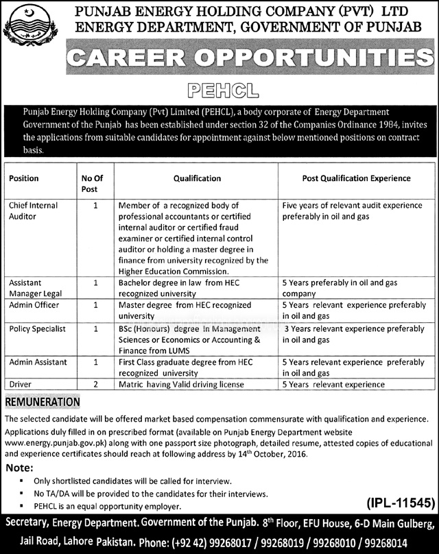 Energy Department jobs in Lahore