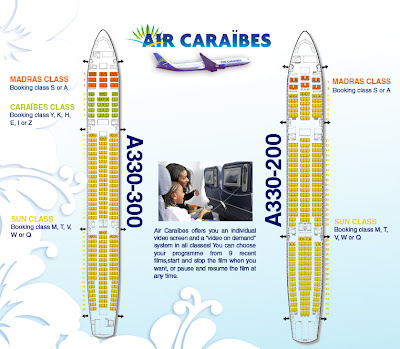 Plan Avion Air Caraibes Classe Madras : classe affaire