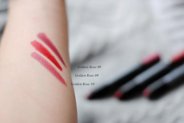 Golden Rose Matte Lipstick Crayon swatche nr 08 09 10