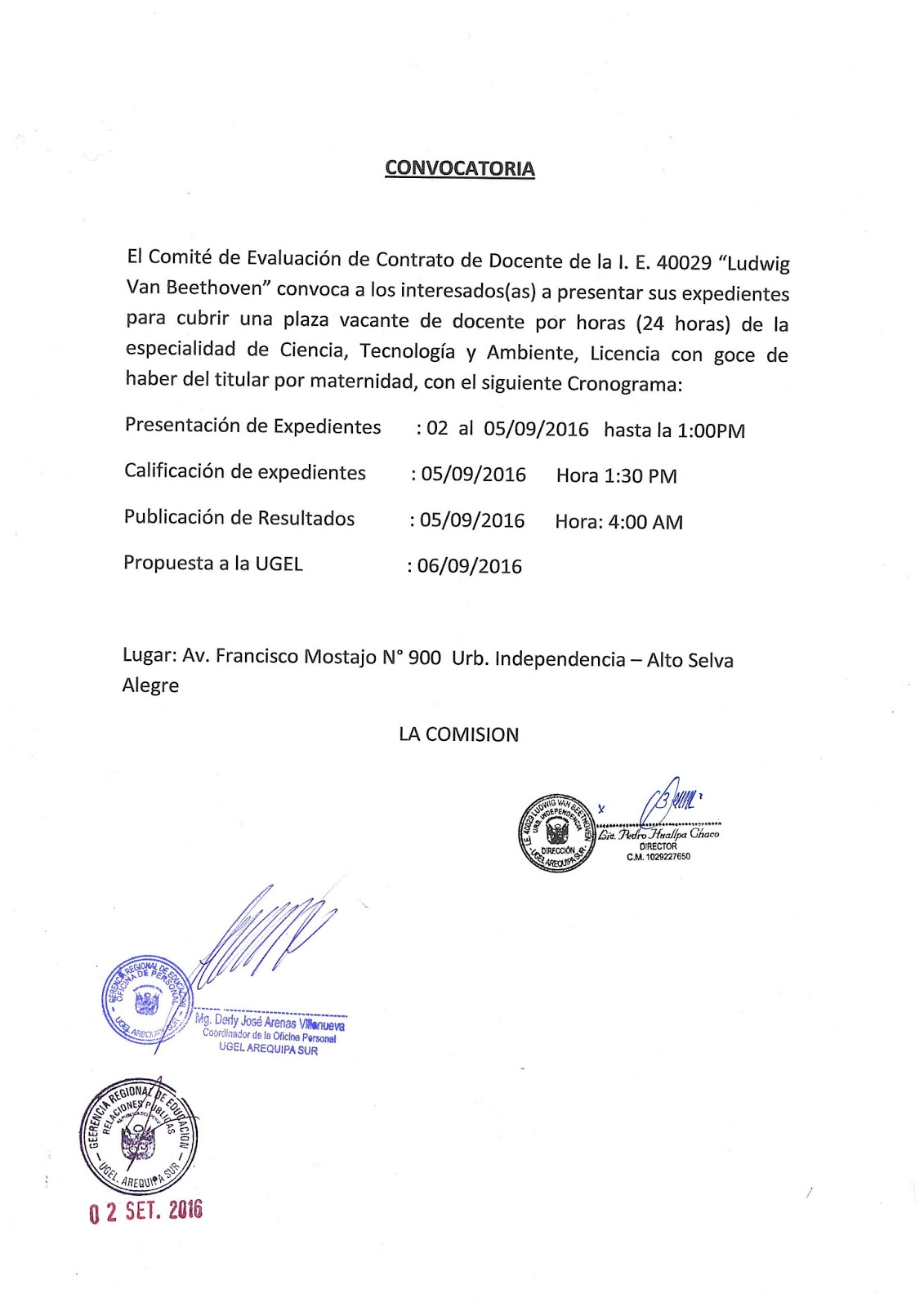 Convocatoria para contrato docente plaza de cta i e Convocatoria para las plazas docentes 2016