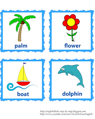 summer song flashcards with words for teaching English to kids