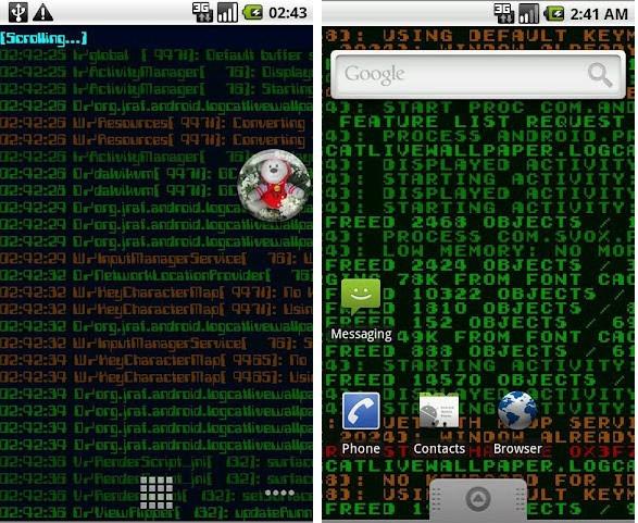 Prescott Linux » Logcat Android Live Wallpaper Sure Looks Geeky!
