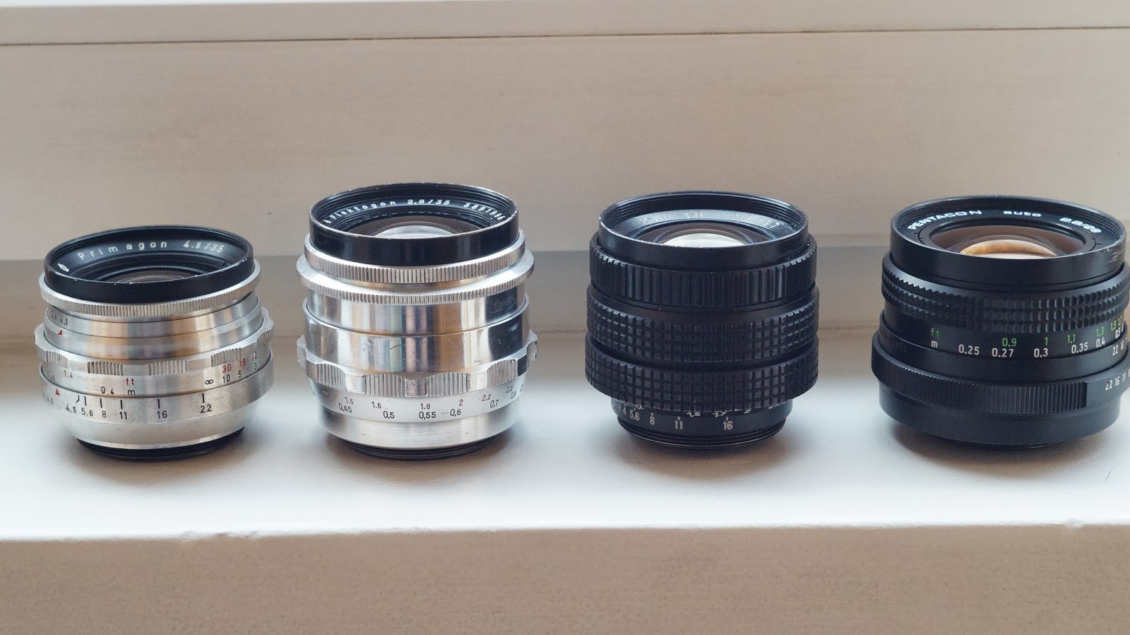 Test wide-angle lenses. Primagon 35/4.5 vs PENTACON 2,8/29 vs Mir-1B 37mm F2.8 vs Flektogon 35mm f2.8