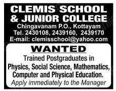 Clemis School and Junior College Kottayam Wanted PGT