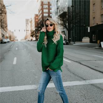 women winter thick sweater turtleneck loose Knitwear