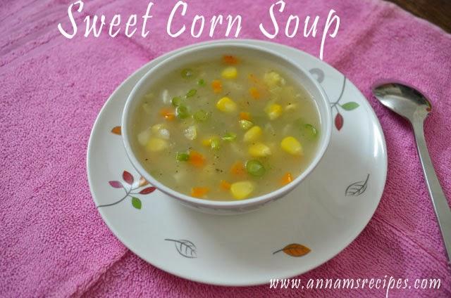 Sweet Corn Soup or Sweet Corn Veg Soup
