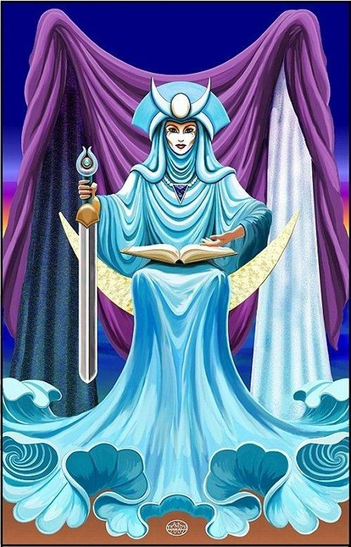 High Priestess Full Colorful Deck Major Stock Illustration: Beyond The Psychic Veil: TAROT :: The High Priestess