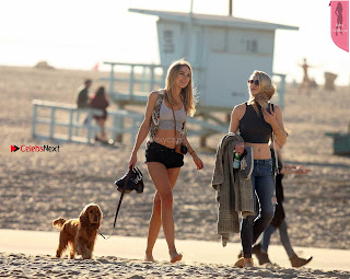 Kimberley Garner Young  Babe Walks her dog Sasha in  Wet Crop Top WOW lovely   legs