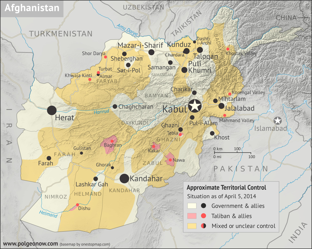 Where in Afghanistan is the war? Map of Taliban control in Afghanistan in April 2014, after the troop surge and before withdrawal was completed. Also marks areas of government control and unclear or mixed control. Includes all of Afghanistan's major cities, plus selected towns, including the four districts known to be controlled by the Taliban at the time: Dishu and Baghran in Helmand province, Kakar (Khak-e-Afghan) in Zabul province, and Nawa in Ghazni province. Colorblind accessible.