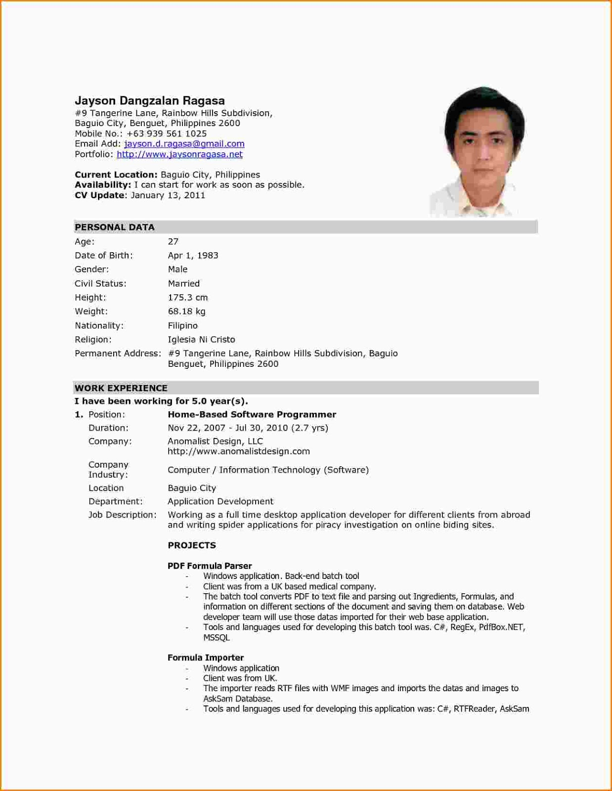 sample resume format for ojt students