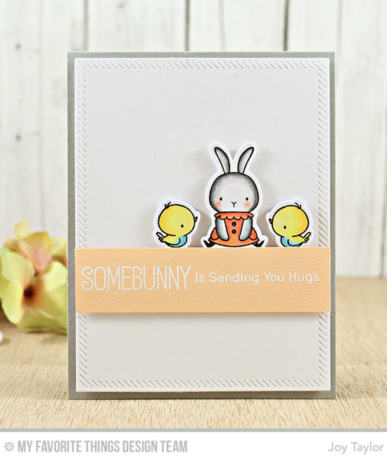 Handmade card from Joy Taylor featuring  Birdie Brown Somebunny stamp set and Die-namics, and Inside & Out Stitched Rectangle STAX Die-namics #mftstamps