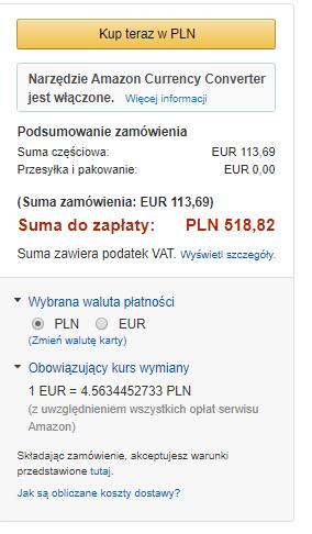 Podsumowanie transakcji zakupu Kindle Paperwhite 4 przy wyborze płatności kartą
