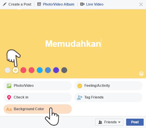 Warna gradasi dan solid untuk latar status Facebook