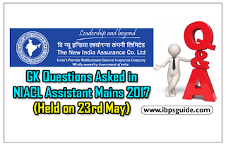 General Awareness Questions Asked in NIACL Assistant Mains Exam Held on 23rd May 2017