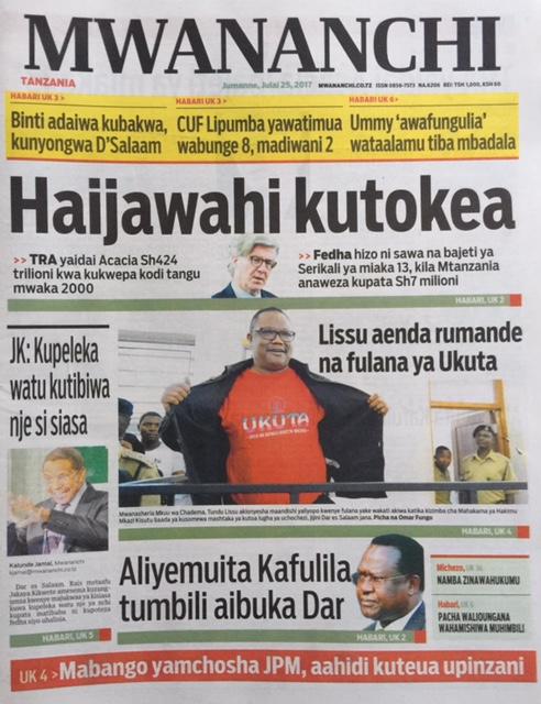 HAYA HAPA MAGAZETI YA LEO JUMANNE JULY 25,2017 - NDANI NA NJE YA TANZANIA